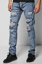 Boohoo Skinny Fit Rigid Jeans With Extreme Rips