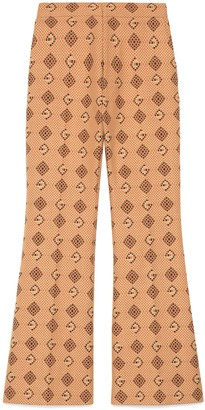 Gucci Woven G rhombus cotton flare trousers