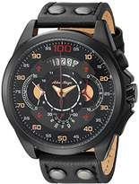 Adee Kaye Men's 'WHIRLLING COLLECTION' Quartz Stainless Steel and Leather Sport Watch, Color:Black (Model: AKC8900-MIP/LBK-BK)