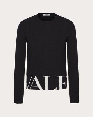 Valentino Uomo Crew-neck Sweater With Intarsia Man Black/ivory Virgin Wool 70%, Cashmere 30% M