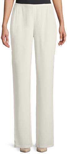 Caroline Rose Silk Crepe Straight-Leg Pants
