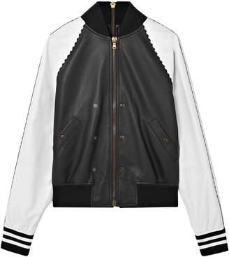 Tomas Maier Zip-embellished Two-tone Leather Bomber Jacket