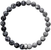 Ora Pearls ARO Men's Snowflake Obsidian & Map Jasper Bracelet Silver Bead - Large