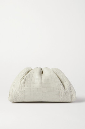 Bottega Veneta The Pouch Large Gathered Alligator Clutch - White