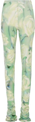 Fenty by Rihanna Extra Long Trousers With Green Rose Print