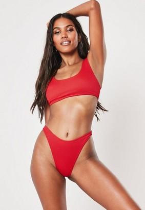 Missguided Scoop Neck Mix And Match Rib Bikini Top