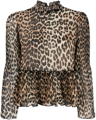 Ganni leopard print ruffled blouse