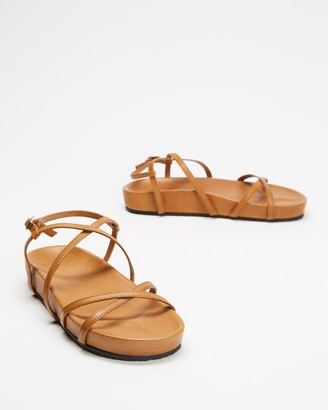 AERE - Women's Brown All thongs - Strappy Leather Footbed Sandals - Size 5 at The Iconic