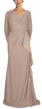 Adrianna Papell Metallic Faux-Wrap Gown