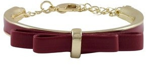 Luxiro Gold Finish and Enamel Faux Leather Bow Girls Bangle Bracelet