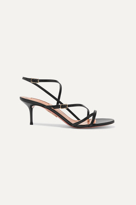 Aquazzura Carolyne 60 Leather Sandals - Black