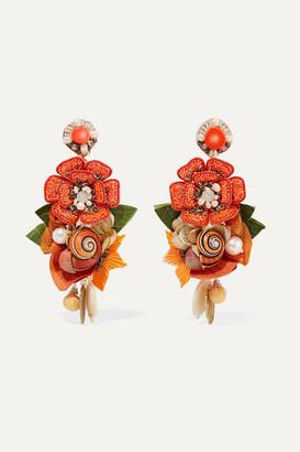 Ranjana Khan Helios Gold-tone And Silk Multi-stone Clip Earrings - Orange