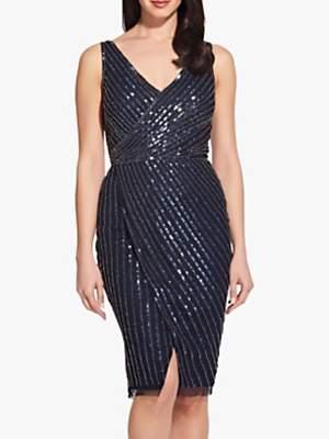 Adrianna Papell Beaded Mesh Dress, Midnight