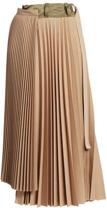 Sacai Suiting Pleated Midi Skirt