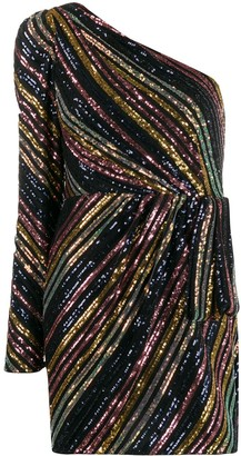 Self-Portrait One Shoulder Sequin-Embellished Mini Dress
