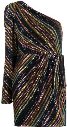 Self-Portrait one shoulder sequin-embellished mini dress