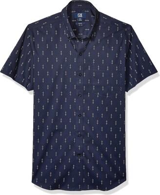Cutter & Buck Men's Short Sleeve Strive Keyhole Print Button Up Shirt