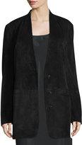 Helmut Lang Suede Shawl-Collar Blazer, Black