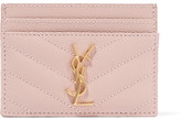 Saint Laurent Quilted Textured-leather Cardholder - Blush