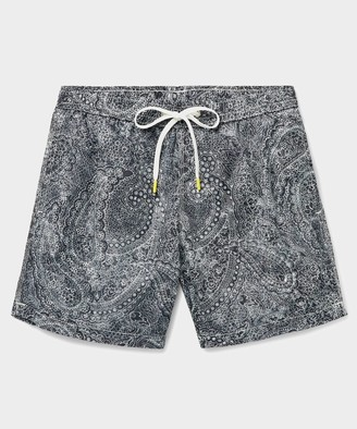 Hartford Paisley Print Swim Trunk in Black