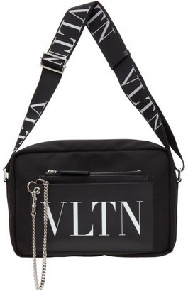 Valentino Black and White Garavani VLTN Messenger Bag