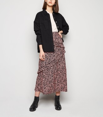 New Look Floral Ruffle Midi Skirt