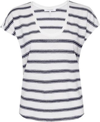 Frame Stripe Scoop Neck Linen T-Shirt