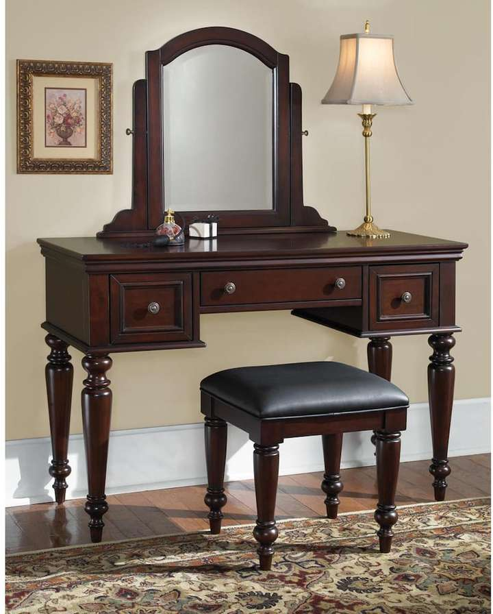 Home Styles Lafayette Vanity Table With Mirror And Bench Set