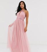 Little Mistress Petite embellished cross neck maxi dress in pink