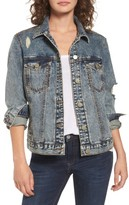 BP Women's Bossy Embellished Denim Jacket