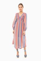 Warm Orange Stripe Long Joanna Dress