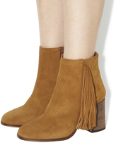 Office Ideally Square Toe Fringe Boots