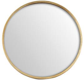 Maison Nomade - 40cm Golden Wooden Round Mirror - golden | wood - Golden