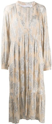 IRO Metallic-Embroidered Smock Dress