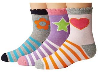 Jefferies Socks Pink/Purple/Grey Crew 3-Pack (Toddler/Little Kid/Big Kid) (Multi) Girls Shoes