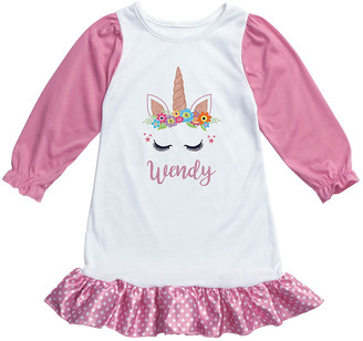 Personalized Planet Girls' Nightgowns WHITE/PINK - Pink & White Personalized Unicorn Nightgown - Toddler & Girls