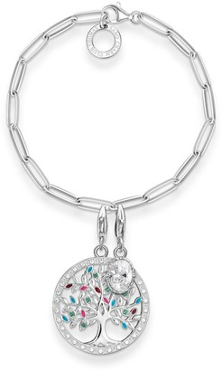 Thomas Sabo Women 925 Sterling Silver Multicolour Hand Chain Bracelet SET0492-473-7-L18 5