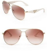Prada Double Bar Aviator Sunglasses, 60mm