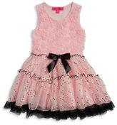 Betsey Johnson Girls 2-6x Little Girls Rosette Sequined Fit-and-Flare Dress