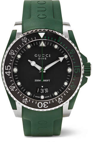 Gucci Dive 40mm Stainless Steel And Rubber Watch
