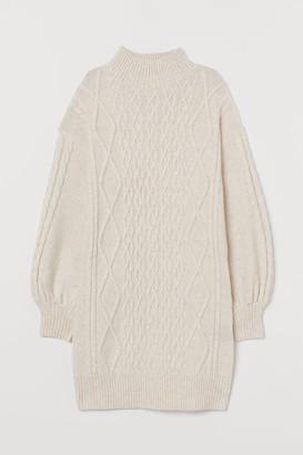 H&M Cable-knit Dress - Beige