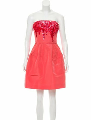Oscar de la Renta 2017 Embellished Silk Dress Pink