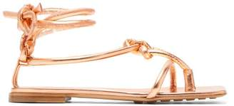 Bottega Veneta Square Toe Knotted Leather Sandals - Womens - Rose Gold