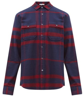 Frame Refined Checked Brushed-cotton Shirt - Mens - Navy Multi