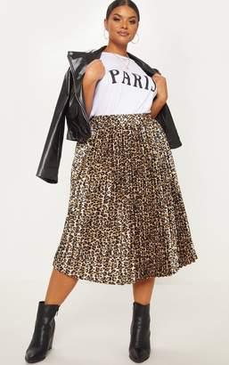 PrettyLittleThing Plus Tan Leopard Pleated Midi Skirt