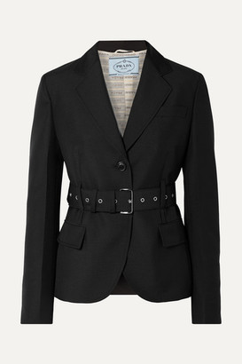 Prada Belted Mohair And Wool-blend Blazer - Black