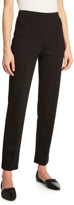 St. John Ponte Cropped Pull-On Pants, Black