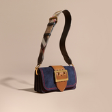 Burberry The Small Buckle Bag in Suede with Topstitching