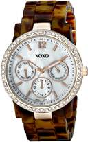 XOXO Women's XO5525 Tortoise Bracelet with Rhinestones on Rose Gold Case Watch