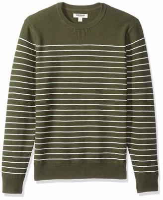 Goodthreads Men's Soft Cotton Multi-Color Striped Crewneck Sweater